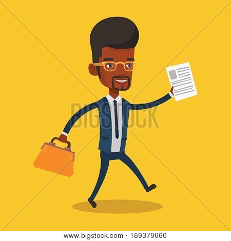 An african-american businessman with briefcase and a document running. Smiling businessman running in a hurry. Cheerful businessman running forward. Vector flat design illustration. Square layout.