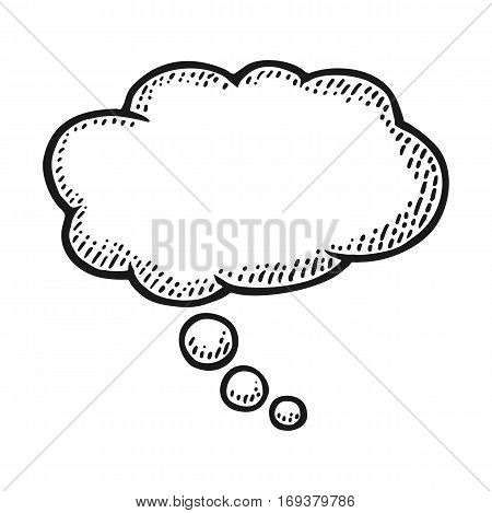 Thought bubble. Isolated on white background. Vintage black vector engraving illustration for poster, info graphic, web.