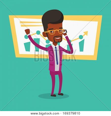 Successful businessman getting good news on mobile phone. An african-american successful businessman talking on mobile phone. Business success concept. Vector flat design illustration. Square layout.