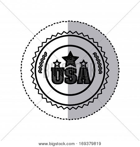 monochrome silhouette sticker with letters U S A and star in round frame vector illustration
