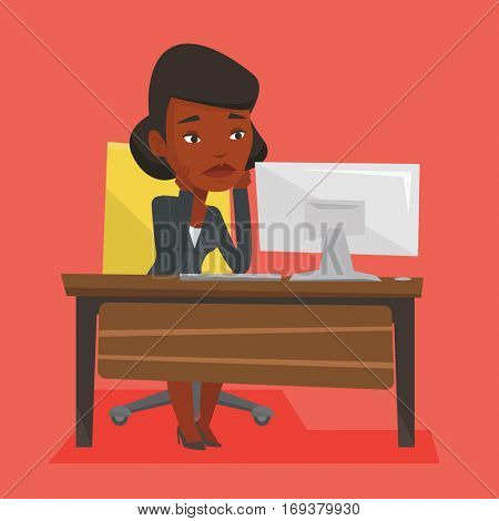 Exhausted african-american employee sitting at workplace in front of computer in office. Overworked tired employee working with her head propped on hand. Vector flat design illustration. Square layout
