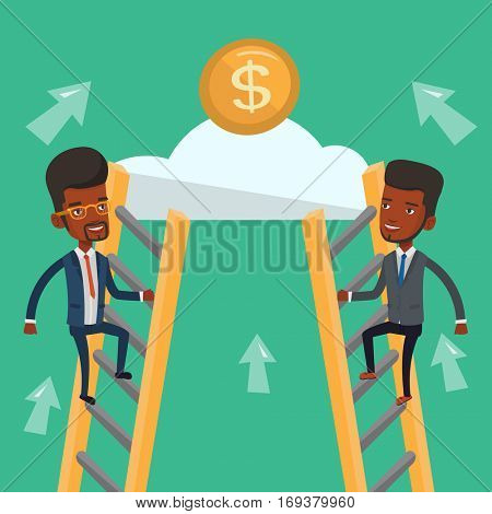 Two african-american businessman competing for the money. Two competitive businessmen climbing the ladder on a cloud. Concept of competition in business. Vector flat design illustration. Square layout