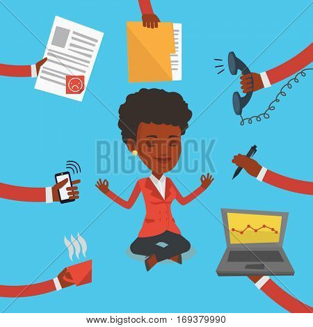 An african-american hard working business woman. Business woman surrounded by many hands that give her a lot of work. Concept of hard working. Vector flat design illustration. Square layout.