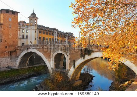 Ponte Fabrico, the bridge between Tiber Island and Campus Martius in central Rome