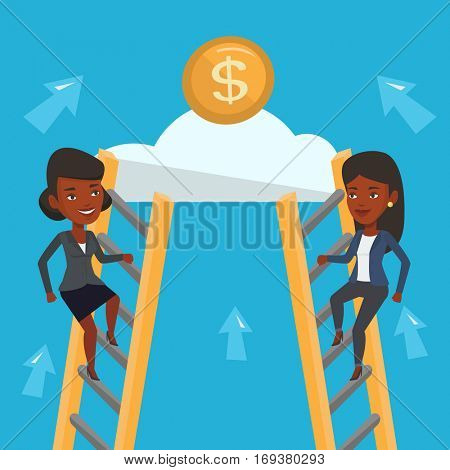Two african business women competing for the money. Two competitive business women climbing the ladder on a cloud. Concept of competition in business. Vector flat design illustration. Square layout