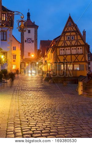 illuminated at night Plonlein Small Square in Rothenburg ob der Tauber, Germany