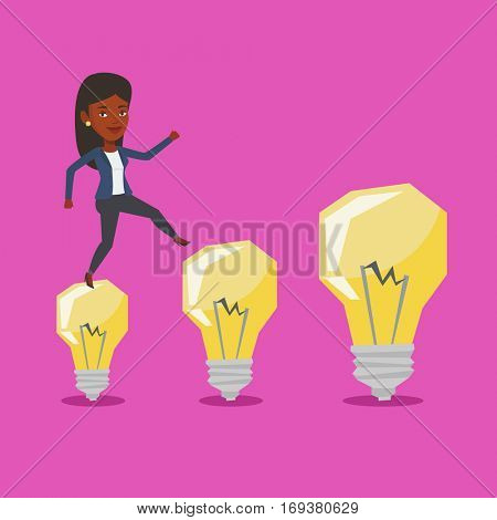 Business woman in a suit hopping onto idea light bulbs. An african-american cheerful business woman jumping on idea bulbs. Concept of business idea. Vector flat design illustration. Square layout.