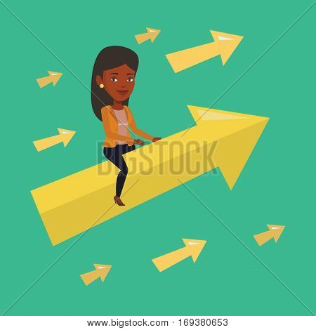 An african businesswoman sitting on arrow going to success. Successful businesswoman flying up on arrow. Concept of moving forward for business success. Vector flat design illustration. Square layout.