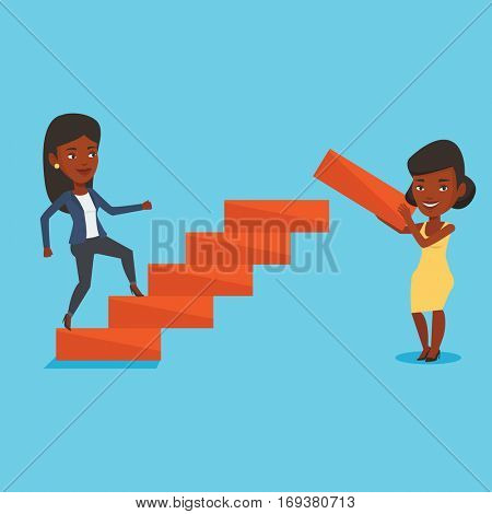 An african woman runs up the career ladder while another woman builds this ladder. Business woman climbing the career ladder. Concept of business career. Vector flat design illustration. Square layout