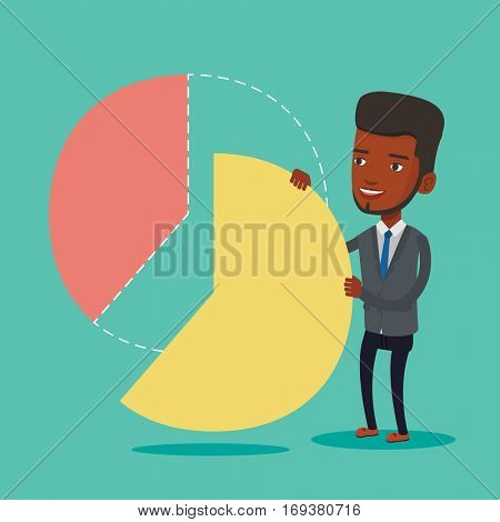 An african-american shareholder taking his share of financial pie chart. Young shareholder getting his share of profit. Businessman sharing profit. Vector flat design illustration. Square layout.