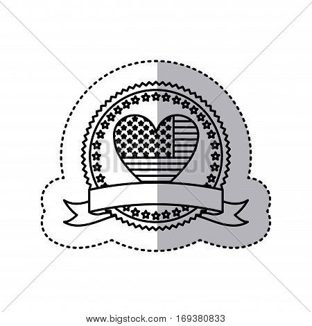 monochrome silhouette sticker with united states flag in shape of heart in round frame with hearts and ribbon vector illustration