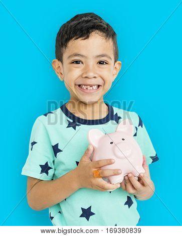Little Boy Piggy Bank Concept
