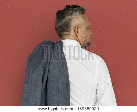 Caucasian Man Back View Business Wear