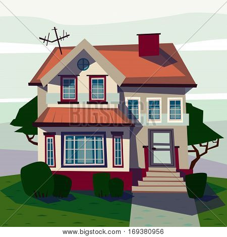 Catroon house building hand drawn vector illustration