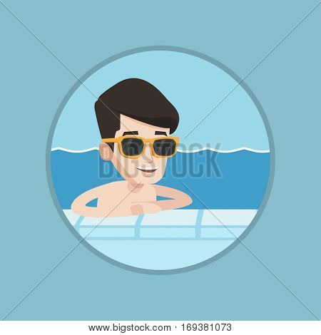 Young cheerful caucasian man relaxing in swimming pool at resort. Smiling man bathing in swimming pool on summer vacation. Vector flat design illustration in the circle isolated on background.