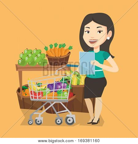Young caucasian woman checking shopping list. Smiling woman holding shopping list near trolley with products. Happy woman writing in shopping list. Vector flat design illustration. Square layout.
