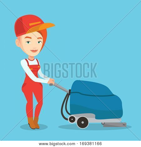 Young cucasian woman cleaning supermarket floor. Friendly woman working with cleaning machine. Female worker of cleaning services in supermarket. Vector flat design illustration. Square layout