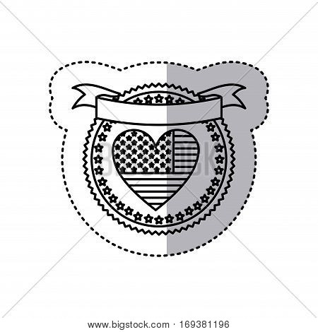 monochrome silhouette sticker with united states flag in shape of heart in round frame with hearts and ribbon on top vector illustration