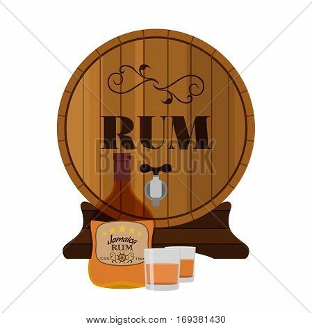 Alcohol drink, rum, glass, barrels. Jamaica rum in flat style design. Vector illustration. Liquor for pubs restaurants hipster bars
