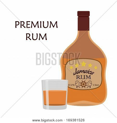 Alcohol drink, rum with glass. Jamaica rum in flat style design.