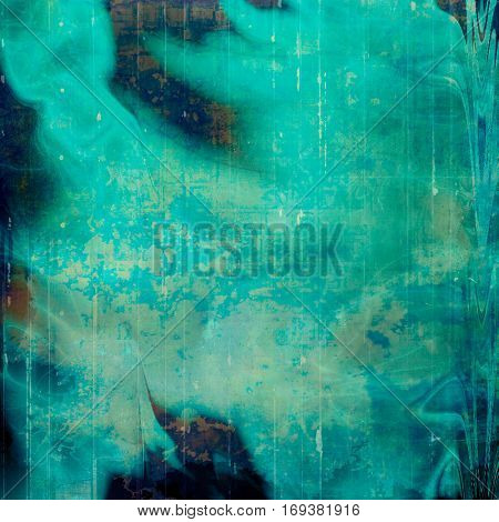 Art grunge background or vintage style texture with retro graphic elements and different color patterns: brown; green; blue; gray; cyan; black