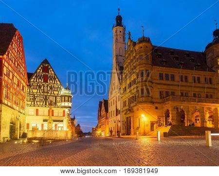 Market square with city hall in Rothenburg ob der Tauber at night, Germany