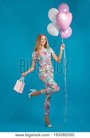 Girl In Spring Overalls With Balloons, Carefree Mood