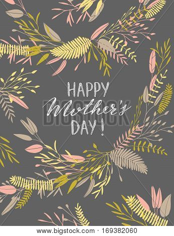 Vector hand drawn elegant Mothers Day card. Flower background, postcard.