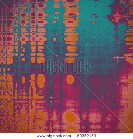 Vintage style shabby texture or background with classy grungy elements and different color patterns: yellow (beige); brown; blue; red (orange); purple (violet); pink
