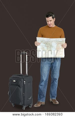 Caucasian Man Traveling Luggage Map