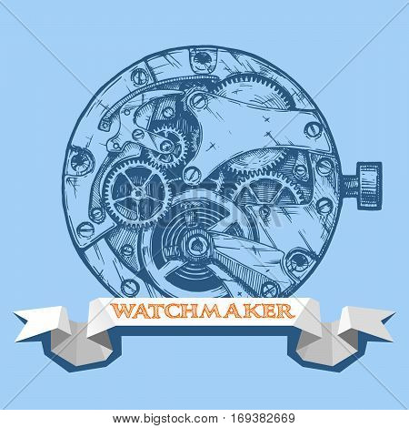 Vector ink hand drawn illustration of clockwork and ribbon with title watchmaker. Clock on blue background.