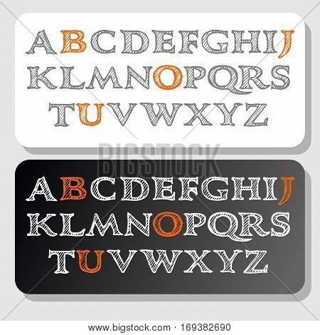 Vector hand drawn sketch alphabet. Ink scratched font