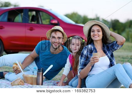 Happy family on picnic outdoors