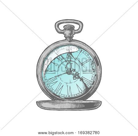 Vector ink hand drawn illustration of antique pocket watch. isolated on white.