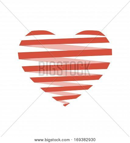 Red flat Spiral heart like origami isolated on white background