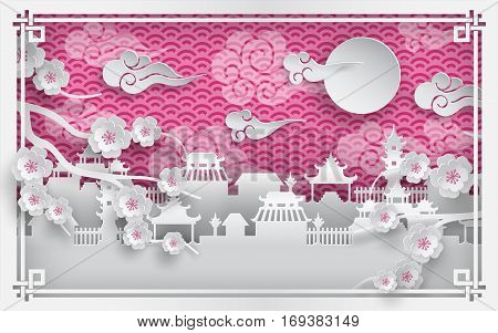 Vector illustration of branch of cherry blossoms and chinatown village on pink outdoor background with clouds, oriental vintage pattern frame for chinese new year greeting card, paper cut out style