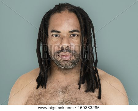 African Man Dreadlocks Bare Chest Manly Portrait