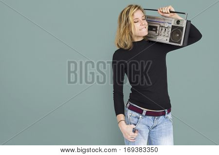 Woman Radio Studio Portrait Concept