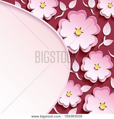 Beautiful trendy romantic maroon background with pink-white ornate 3d flower sakura cutting paper- japanese cherry tree branch and leaf. Floral stylish modern wallpaper. Greeting or invitation card with place for text. Vector illustration