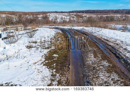 The Road During The Spring Thaw With Mud