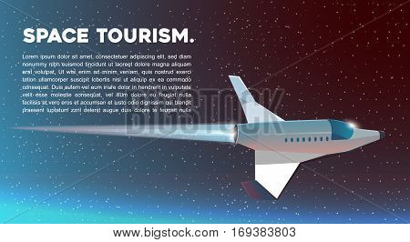 Vector web illustration Space tourism. Spaceship. Vector web illustration Space tourism.