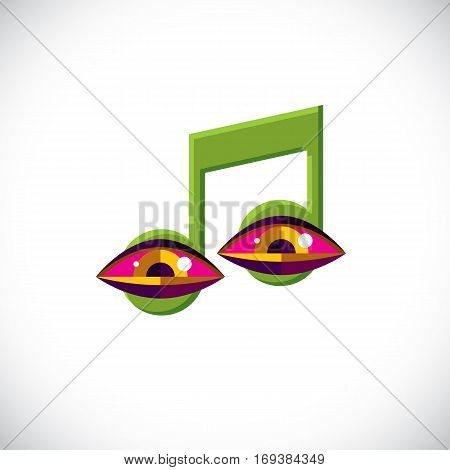 Vector Art Illustration Of Musical Note Created With Human Eyes Inside, Conceptual Melody Symbol. Mo