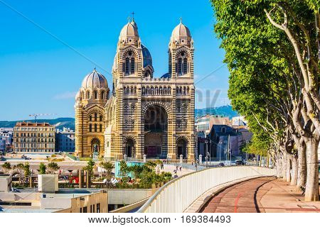 Quay Marseille. Cathedral Catholic Cathedral of the XIX century Sainte-Marie-Majeure