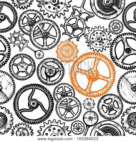 Vector seamless pattern with different gears and clockwork elements. illustration background in ink hand drawn style.