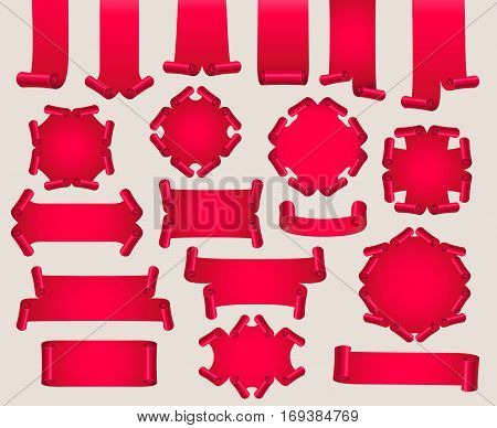 Set of red realistic paper or satin banners. Ribbon with twirl. Vector illustration.