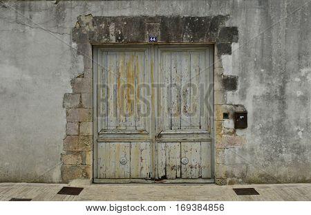 Ars en Re France - september 26 2016 : close up of an old door