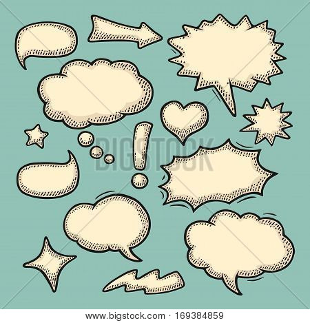 Set speech and thought bubbles. Isolated on turquoise background. Vintage black and beige vector engraving illustration for poster, info graphic, web.