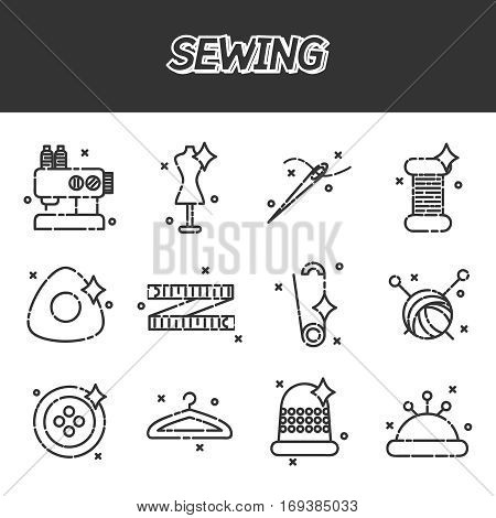 Flat icons vector collection of sewing items. Set of flat vector icons for sewing or handmade items and tools on white background.