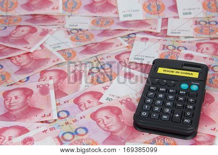 Calculator whit made in China, on yuan