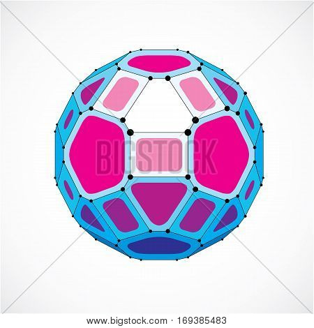 Abstract Vector Low Poly Object With Black Lines And Dots Connected. Purple 3D Futuristic Ball With
